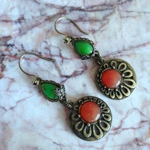 Lucky Brand Red Green Floral Butterfly Earring